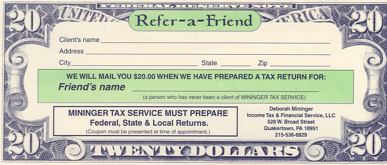 Refer A Friend Deborah Mininger Income Tax Amp Financial